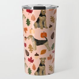 Airedale Terrier autumn fall woodland mdogushroom pumpkin ocotober dog dogs Travel Mug