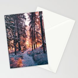 Burning Snowy Forest Stationery Cards
