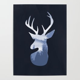 Deer Abstract Blue Landscape Design Poster