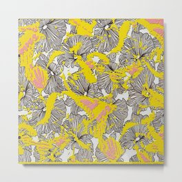 Floral Butterfly Frenzy Yellow/Pink Metal Print