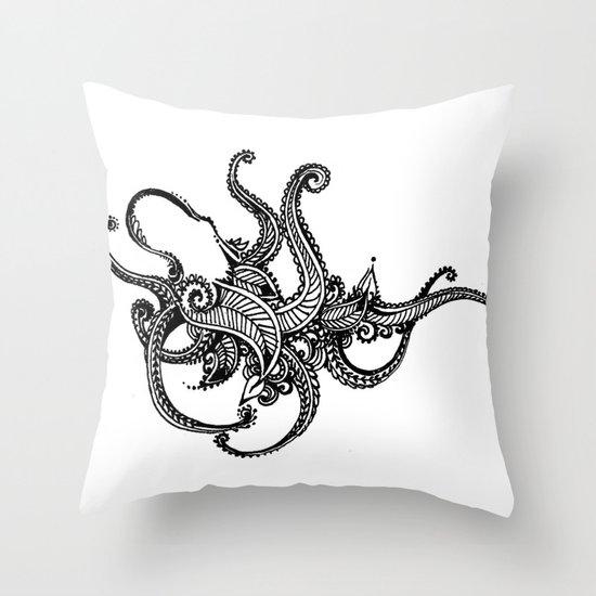 Henna Octopus  Throw Pillow