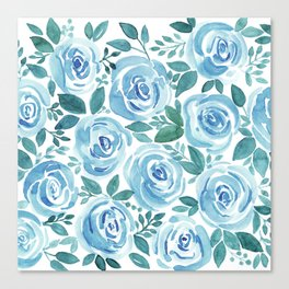 Pale blue roses . Watercolor . Canvas Print