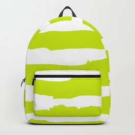 White and chartreuse Stripes Backpack