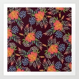Red Floral Print Art Print