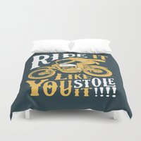 motorbike Duvet Covers featuring stole it by The Junkers