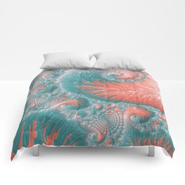 Abstract Coral Reef Living Coral Pastel Teal Blue Texture Spiral Swirl Pattern Fractal Fine Art Comforters