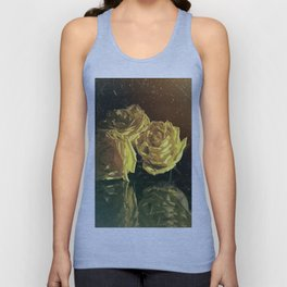 Yellow Vintage Roses Unisex Tank Top