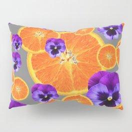 ORANGE SLICES & PURPLE PANSIES MODERN ART Pillow Sham