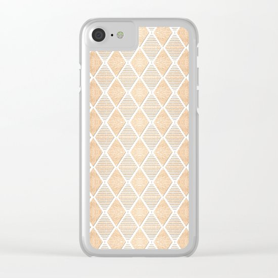 White and Copper Geometric Pattern Clear iPhone Case