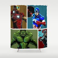 avenger Shower Curtains featuring Avenger Team by Carrillo Art Studio