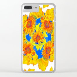 Turquoise-gold Sunflowers Leaves Pattern Abstract Clear iPhone Case
