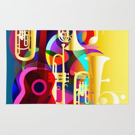 Colorful music instruments with guitar, trumpet, musical notes, bass clef and abstract decor Rug