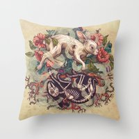 bunny Throw Pillows featuring Dust Bunny by Kate O'Hara Illustration