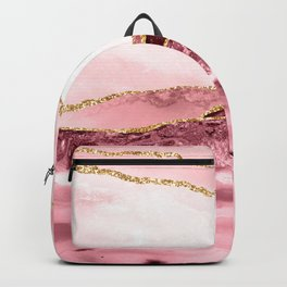 Pink And Gold Marble Waves Backpack