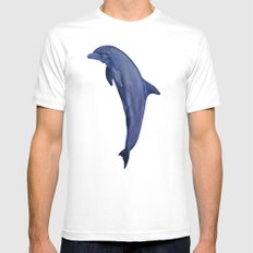 dolphin with flower of life MEDIUM White Mens Fitted Tee