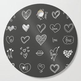 Hand drawn hearts Cutting Board
