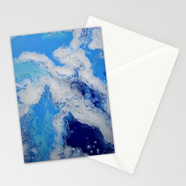 Caribbean Blue Fluid Turquoise Navy White Abstract Painting Stationery Cards