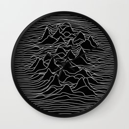 Black and white illustration - sound wave graphic Wall Clock