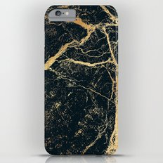 Black and Gold Marble iPhone 6 Plus Slim Case