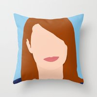 emma stone Throw Pillows featuring Emma Stone Digital Portrait by RoarsAdams