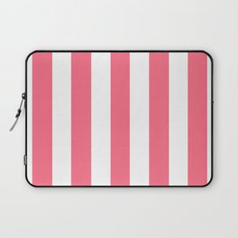 Wild watermelon pink - solid color - white vertical lines pattern Laptop Sleeve