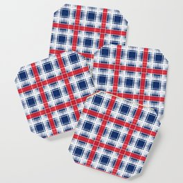 Plaid, red and blue Coaster