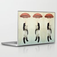 teal Laptop & iPad Skins featuring Pandachute by Vin Zzep
