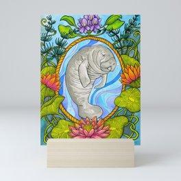 Manatee and Water Lilies Mini Art Print