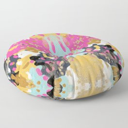 Laurel - Abstract painting in a free style with bold colors gold, navy, pink, blush, white, turquois Floor Pillow