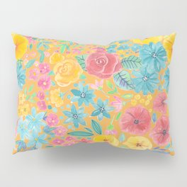 Floral watercolor pattern in yellow Pillow Sham