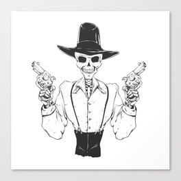 Gangster skull - grim  reaper cartoon - black and white Canvas Print