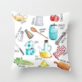 Kitchen set illustration Throw Pillow