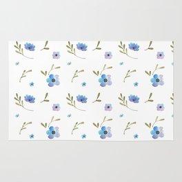 Blue watercolor flowers #2 Rug