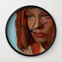 fifth element Wall Clocks featuring leeloo - the fifth element by salem jones
