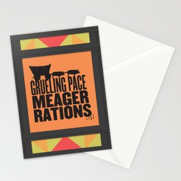 Grueling Pace Meager Rations (Black) Stationery Cards