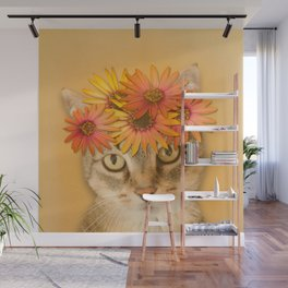 Tabby Cat with Daisy Flower Crown, Mustard Yellow Background Wall Mural