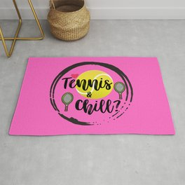 Tennis and Chill Tennis Ball Racket Pink Rug