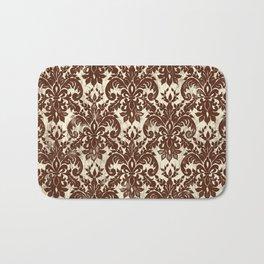 Dark Chocolate Damask Line Work Fleur de Lis Pattern Artwork Bath Mat