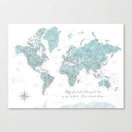 Where I've never been detailed world map in blue Canvas Print