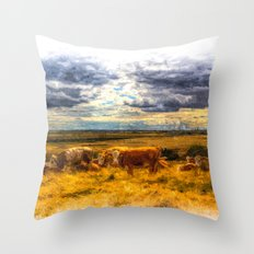 Cows At Rest Art Throw Pillow