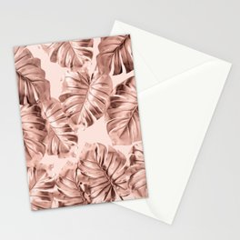 Rose Gold Monstera Leaves on Blush Pink 2 Stationery Cards