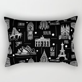 Globetrotter Black and White Travel Rectangular Pillow