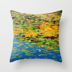 Lilly pond in the style of Monet Throw Pillow