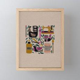 Crafty = Happy // Craft Supplies Folk Art Style Illustration Framed Mini Art Print