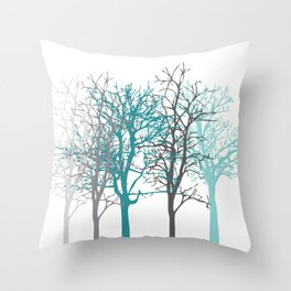 Trees teal and grey Throw Pillow