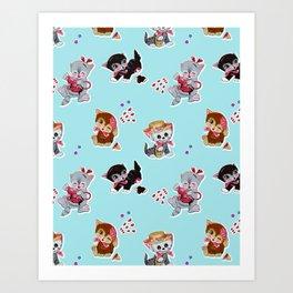Zombie Cats Art Print
