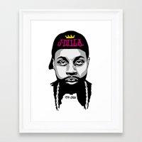j dilla Framed Art Prints featuring J Dilla by Rakka Art