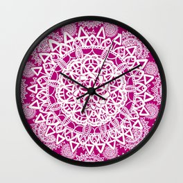 Pink and White Patterned Mandala Textile Wall Clock