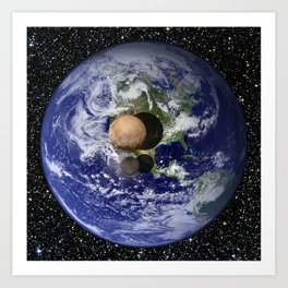 Pluto and Charon against Earth Art Print