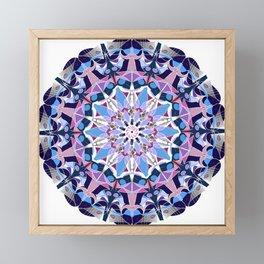 blue grey white pink purple mandala Framed Mini Art Print